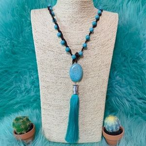 Jewelry - Turquoise Stone & Leather Necklace